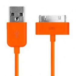 CÂBLE USB ORANGE POUR IPHONE, IPAD ET IPOD