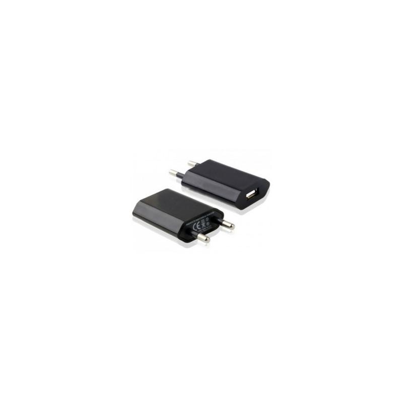 Mini chargeur noir secteur 220V pour téléphones, tablettes ou lecteurs MP3