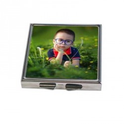 Miroir 2 de poche carré personnalisé argent
