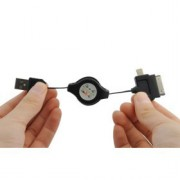 CABLE USB UNIVERSEL RÉTRACTABLE POUR IPHONE, IPOD, IPAD, SAMUNG, HTC