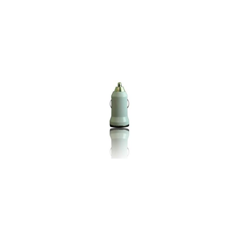 MINI Chargeur blanc 12 volts allume cigare pour téléphones, tablettes ou lecteurs MP3