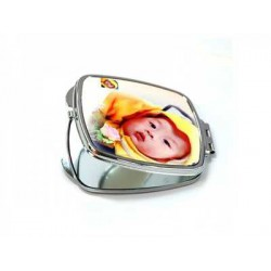 Miroir de poche carré personnalisé argent